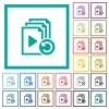 Undo last playlist operation flat color icons with quadrant frames - Undo last playlist operation flat color icons with quadrant frames on white background