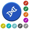 DNA molecule beveled buttons - DNA molecule round color beveled buttons with smooth surfaces and flat white icons
