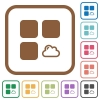 Cloud component simple icons - Cloud component simple icons in color rounded square frames on white background