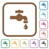 Water faucet with water drop simple icons - Water faucet with water drop simple icons in color rounded square frames on white background