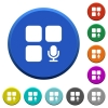 Component recording beveled buttons - Component recording round color beveled buttons with smooth surfaces and flat white icons