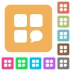 Message component rounded square flat icons - Message component flat icons on rounded square vivid color backgrounds.