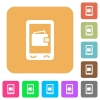 Mobile wallet rounded square flat icons - Mobile wallet flat icons on rounded square vivid color backgrounds.
