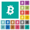 Bitcoin digital cryptocurrency square flat multi colored icons - Bitcoin digital cryptocurrency multi colored flat icons on plain square backgrounds. Included white and darker icon variations for hover or active effects.
