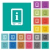 Mobile information square flat multi colored icons - Mobile information multi colored flat icons on plain square backgrounds. Included white and darker icon variations for hover or active effects.