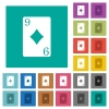 Nine of diamonds card square flat multi colored icons - Nine of diamonds card multi colored flat icons on plain square backgrounds. Included white and darker icon variations for hover or active effects.