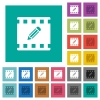 Edit movie square flat multi colored icons - Edit movie multi colored flat icons on plain square backgrounds. Included white and darker icon variations for hover or active effects.