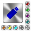 Pendrive engraved icons on rounded square glossy steel buttons - Pendrive rounded square steel buttons