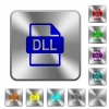 DLL file format rounded square steel buttons - DLL file format engraved icons on rounded square glossy steel buttons