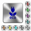 Eco energy engraved icons on rounded square glossy steel buttons - Eco energy rounded square steel buttons