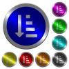 Ascending ordered list mode luminous coin-like round color buttons - Ascending ordered list mode icons on round luminous coin-like color steel buttons
