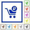 Checkout with Ruble cart flat framed icons - Checkout with Ruble cart flat color icons in square frames on white background