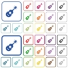 Acoustic guitar outlined flat color icons - Acoustic guitar color flat icons in rounded square frames. Thin and thick versions included.
