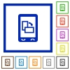 Change mobile display orientation flat framed icons - Change mobile display orientation flat color icons in square frames on white background