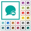 Reply blog comment flat color icons with quadrant frames - Reply blog comment flat color icons with quadrant frames on white background