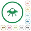 UFO flat icons with outlines - UFO flat color icons in round outlines on white background