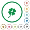 Four leaf clover flat color icons in round outlines on white background - Four leaf clover flat icons with outlines