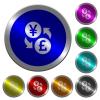 Yen Pound money exchange luminous coin-like round color buttons - Yen Pound money exchange icons on round luminous coin-like color steel buttons