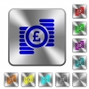 Pound coins rounded square steel buttons - Pound coins engraved icons on rounded square glossy steel buttons