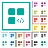 Component programming flat color icons with quadrant frames - Component programming flat color icons with quadrant frames on white background