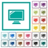 Monitor flat color icons with quadrant frames - Monitor flat color icons with quadrant frames on white background