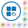 Cloud component icons with shadows and outlines - Cloud component flat color vector icons with shadows in round outlines on white background