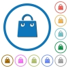 Shopping bag icons with shadows and outlines - Shopping bag flat color vector icons with shadows in round outlines on white background