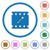 Edit movie icons with shadows and outlines - Edit movie flat color vector icons with shadows in round outlines on white background