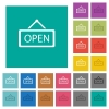 Open sign square flat multi colored icons - Open sign multi colored flat icons on plain square backgrounds. Included white and darker icon variations for hover or active effects.