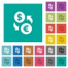 Dollar Euro money exchange square flat multi colored icons - Dollar Euro money exchange multi colored flat icons on plain square backgrounds. Included white and darker icon variations for hover or active effects.