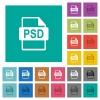 PSD file format multi colored flat icons on plain square backgrounds. Included white and darker icon variations for hover or active effects. - PSD file format square flat multi colored icons