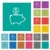 Dollar piggy bank square flat multi colored icons - Dollar piggy bank multi colored flat icons on plain square backgrounds. Included white and darker icon variations for hover or active effects.
