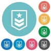Military rank flat round icons - Military rank flat white icons on round color backgrounds