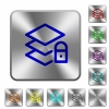 Locked layers rounded square steel buttons - Locked layers engraved icons on rounded square glossy steel buttons