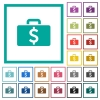 Dollar bag flat color icons with quadrant frames - Dollar bag flat color icons with quadrant frames on white background