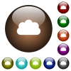 Cloud color glass buttons - Cloud white icons on round color glass buttons