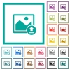 Upload image flat color icons with quadrant frames - Upload image flat color icons with quadrant frames on white background