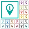 GPS map location information flat color icons with quadrant frames - GPS map location information flat color icons with quadrant frames on white background