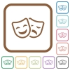 Comedy and tragedy theatrical masks simple icons - Comedy and tragedy theatrical masks simple icons in color rounded square frames on white background