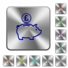 Pound piggy bank engraved icons on rounded square glossy steel buttons - Pound piggy bank rounded square steel buttons