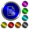 Disabled document luminous coin-like round color buttons - Disabled document icons on round luminous coin-like color steel buttons