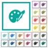 Paint kit flat color icons with quadrant frames - Paint kit flat color icons with quadrant frames on white background