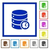 Database timed events flat framed icons - Database timed events flat color icons in square frames on white background