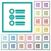 Radio group flat color icons with quadrant frames - Radio group flat color icons with quadrant frames on white background