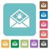 Open mail with malware symbol rounded square flat icons - Open mail with malware symbol white flat icons on color rounded square backgrounds
