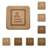 Contacts wooden buttons - Contacts on rounded square carved wooden button styles