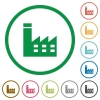 Factory building flat icons with outlines - Factory building flat color icons in round outlines on white background