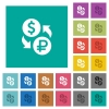 Dollar Ruble money exchange square flat multi colored icons - Dollar Ruble money exchange multi colored flat icons on plain square backgrounds. Included white and darker icon variations for hover or active effects.