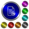 Redo document changes luminous coin-like round color buttons - Redo document changes icons on round luminous coin-like color steel buttons