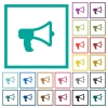 Megaphone flat color icons with quadrant frames - Megaphone flat color icons with quadrant frames on white background